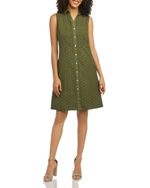 FOXCROFT SLEEVELESS COTTON EYELET SHIRT DRESS