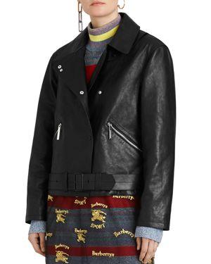 Burnham Tartan Lined Leather Biker Jacket, Black