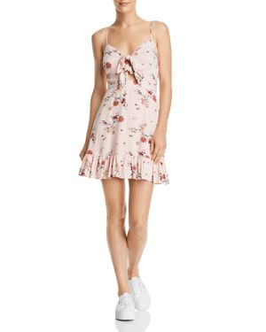 LOST AND WANDER ROSA FLORAL TIE FRONT MINIDRESS
