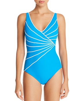 Gottex - Sinatra Piped Crossover V-Neck One Piece Swimsuit