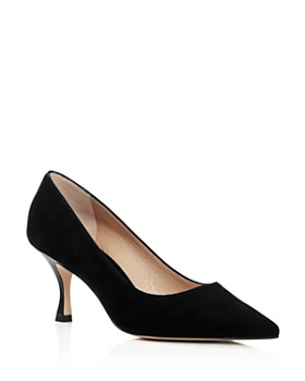 Stuart Weitzman - Women's Tippi 70 Pointed Toe Suede Kitten Heel Pumps