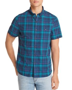 Michael Bastian Plaid Short-Sleeve Regular Fit Button-Down Shirt