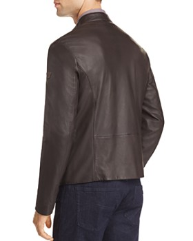 Armani - Leather Zip Up Jacket