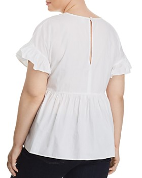 Lost Ink Plus - Embroidered Feather Peplum Top