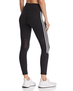 Adidas - Believe This Mesh-Inset Striped Leggings