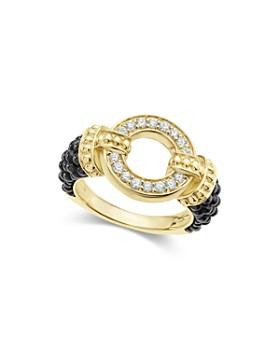 LAGOS - Circle Game Black Caviar Ceramic Ring with Diamonds and 18K Gold