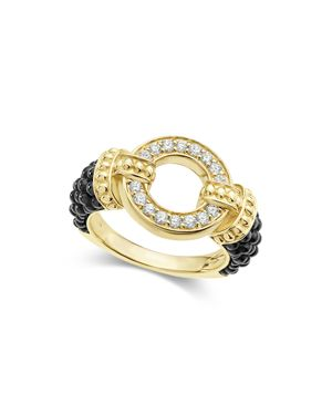 Lagos Circle Game Black Caviar Ceramic Ring with Diamonds and 18K Gold