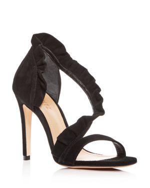 Women'S Aime Ruffled Suede High-Heel Sandals, Black Suede