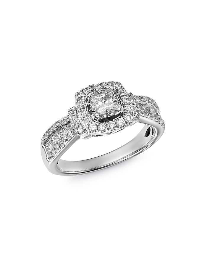 Bloomingdale's - Diamond Square Halo Ring in 14K White Gold, 1.0 ct. t.w - 100% Exclusive