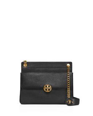 Chelsea Flap Convertible Leather Shoulder Bag, Black/Gold
