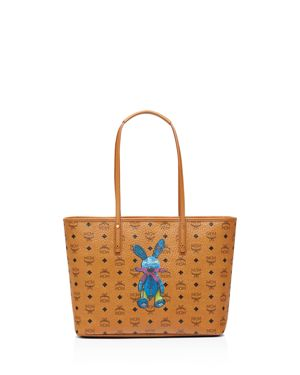 Medium Rabbit Coated Canvas Shopper - Brown, Cognac/Gold