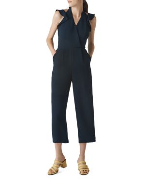 Larkin cropped ruffled-trim crepe jumpsuit