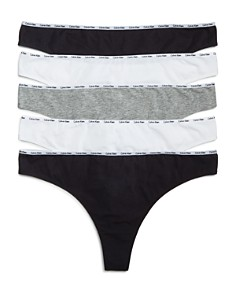 Calvin Klein - Plus Signature Cotton Thongs, Set of 5