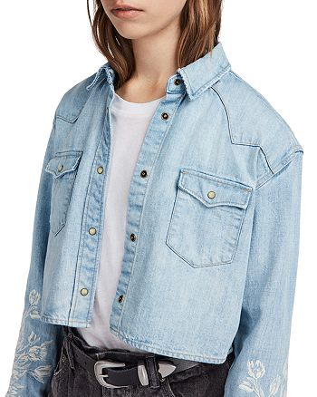 890a30737b ALLSAINTS - Flora Cannon Embroidered Denim Western Shirt