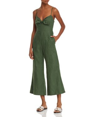 Presley Cropped Tie-Front Linen Jumpsuit, Moss Green