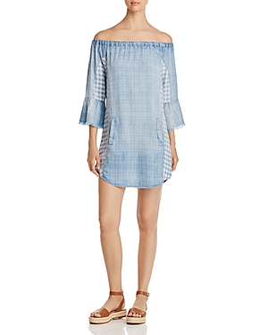 Billy T OFF-THE-SHOULDER CHAMBRAY DRESS