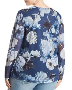 Love Scarlett Plus - Shirred Floral-Print Mesh Top