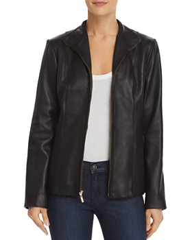 Cole Haan - Wing Collar Leather Jacket
