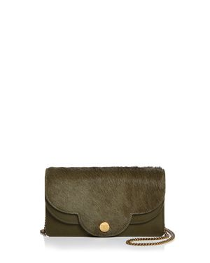 SEE BY CHLOE POLINA LEATHER & CALF HAIR CHAIN WALLET