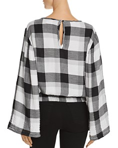 Bella Dahl - Bell Sleeve Plaid Cropped Top