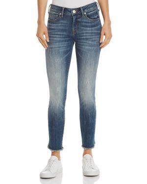 Halle Mid Rise Skinny Jeans In Seasoned Blue