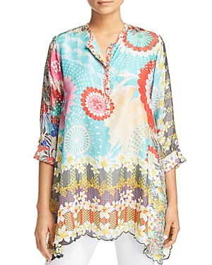 Johnny Was Collection Scalloped Printed Silk Tunic