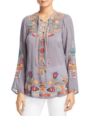 JOHNNY WAS FREE SPIRIT EMBROIDERED TIE-NECK TOP