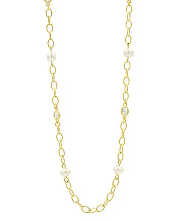 Freida Rothman - Cultured Freshwater Pearl Textured Link Chain Necklace, 40""