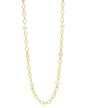 Freida Rothman Cultured Freshwater Pearl Textured Link Chain Necklace, 40