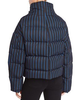 Theory - Striped Down Puffer Coat