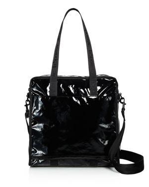 Lesportsac Gabrielle Medium Shiny Nylon Box Tote, Black Patent/Black