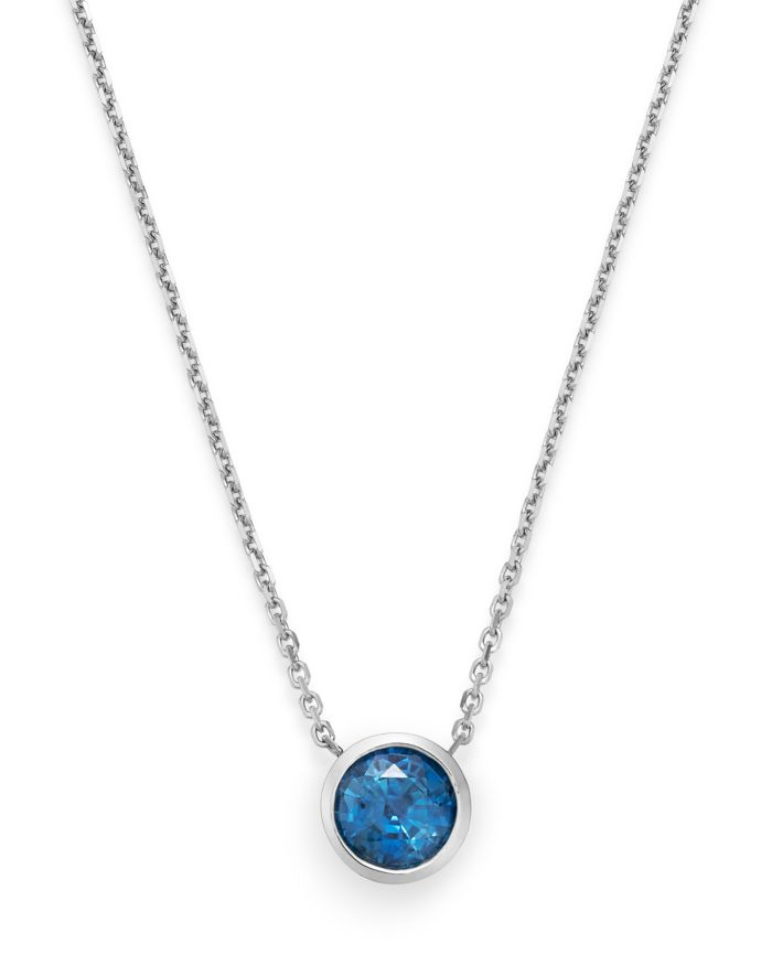 """Bloomingdale's Blue Sapphire Bezel Pendant Necklace in 14K White Gold, 16"""" - 100% Exclusive     Bloomingdale's"""