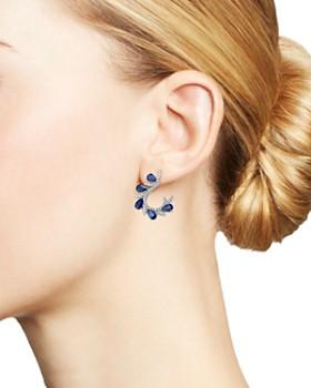 Bloomingdale's - Diamond & Blue Sapphire Front-Back Hoop Earrings in 18K White Gold - 100% Exclusive