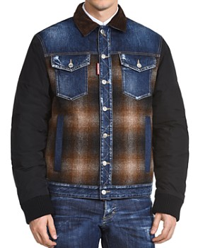 DSQUARED2 - Mixed-Media Patchwork Sports Jacket