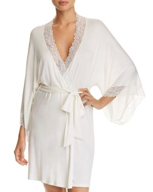 Rosario Lace-Trimmed Stretch-Modal Jersey Robe, Ivory/Bridal