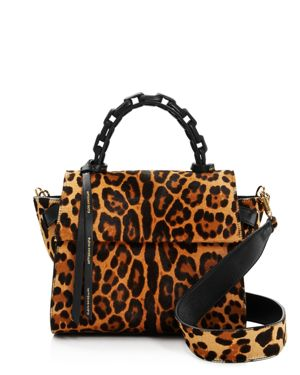 Elena Ghisellini Small Leopard Calf Hair Top Handle Satchel