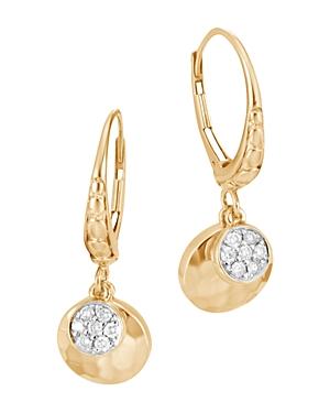 John Hardy 18K Gold Dot Hammered Pave Diamond Drop Earrings