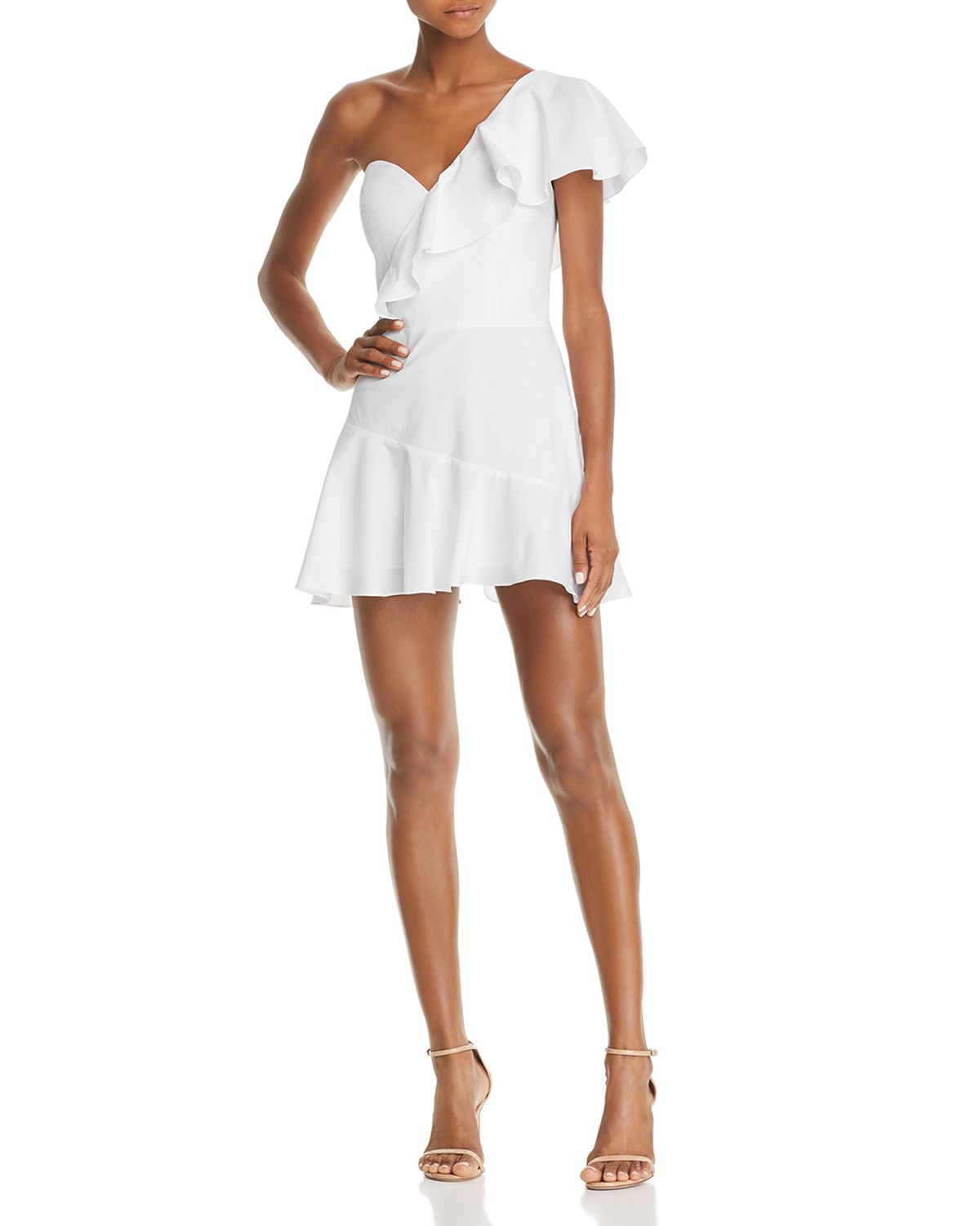 Vanderbilt Ruffled One Shoulder Mini Dress by Amanda Uprichard