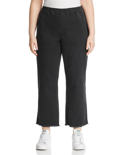Eileen Fisher Plus - Frayed Cropped Legging Jeans in Washed Black