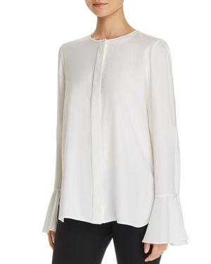Lafayette 148 New York Izzie Embellished Silk Slit-Sleeve Blouse