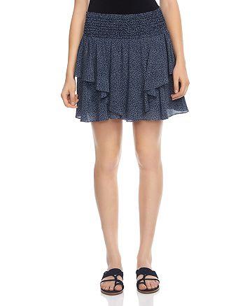 HALSTON HERITAGE - Printed Silk Mini Skirt