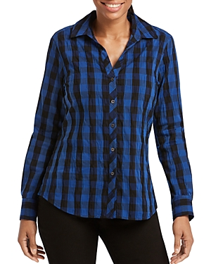 Foxcroft Crinkled Buffalo Check Top