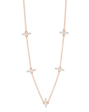 FREIDA ROTHMAN Radiance Station Chain Necklace, 16 in Rose/ Silver