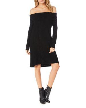MICHAEL STARS Jasper Poorboy Off The Shoulder Dress in Black
