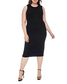 B Collection by Bobeau Curvy - Lyla Ribbed Twist-Back Midi Dress