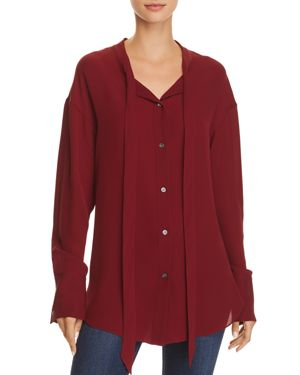 THEORY Weekender Pussy-Bow Silk-Georgette Blouse in Red