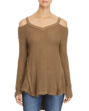 Elan Cold Shoulder High Low Sweater
