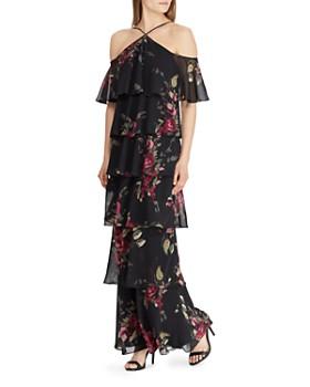 Ralph Lauren - Tiered Cold-Shoulder Floral Gown