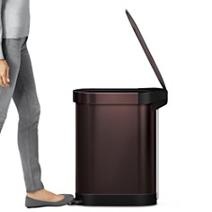 simplehuman - 45-Liter Slim Step Trash Can with Liner Rim