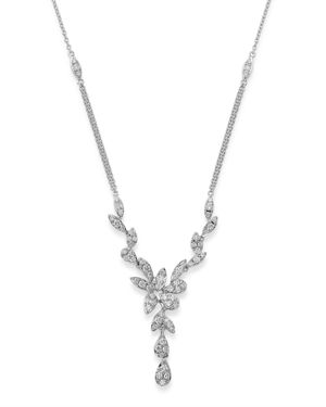 Bloomingdale's Pave Diamond Leaf Necklace in 14K White Gold, 1.10 ct. t.w. - 100% Exclusive